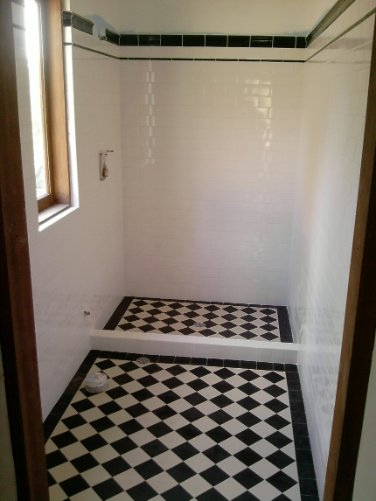 Black And White Checkered Floor In Bathroom : Edwardian tiles black and white checkerboard