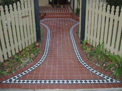 Edwardian tiles new path and porch shenton park for Edwardian tiles for porch
